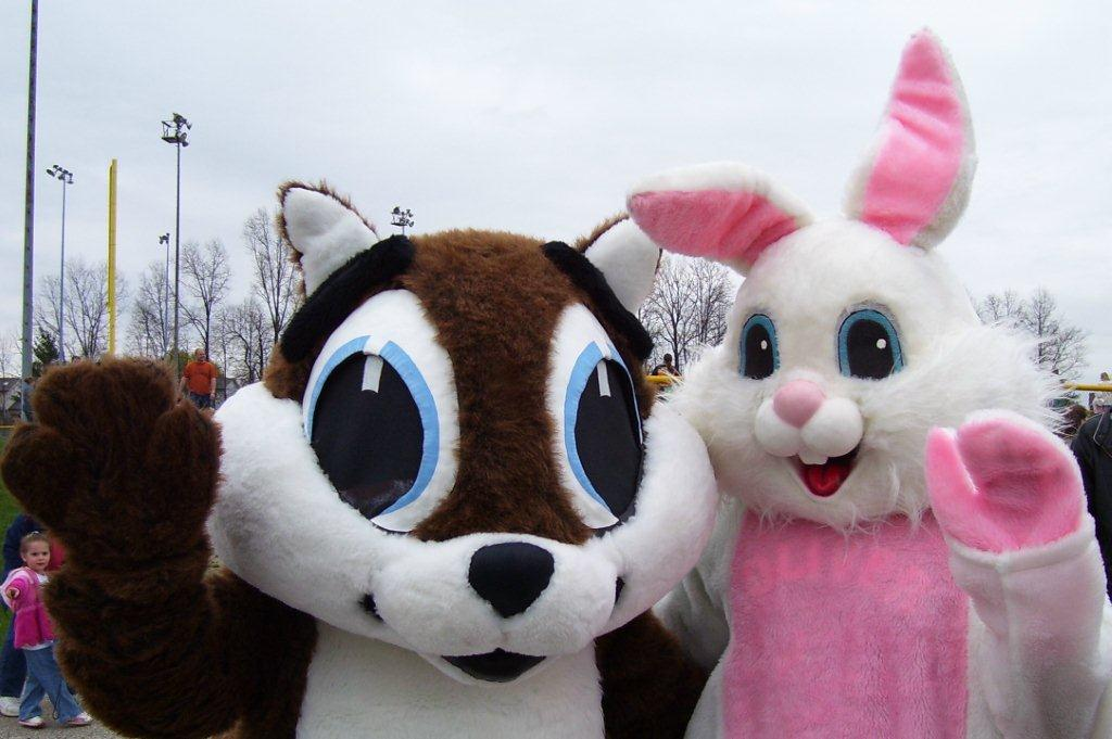 Squirrel and Easter Bunny Mascots